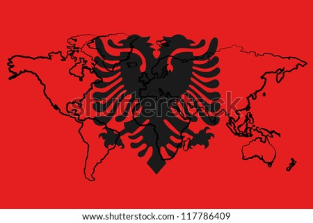 The flag of Albania with the outline of the world