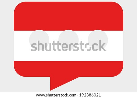 The flag of Austria in a messaging bubble - stock vector