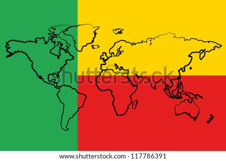 The flag of Benin with the outline of the world - stock vector