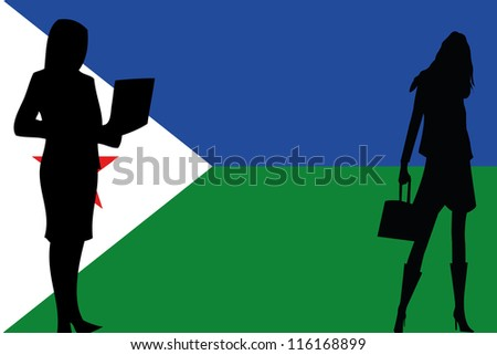 The flag of Djibouti with silhouettes of women in business women