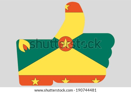The flag of Grenada in a Thumbs Up Icon - stock vector