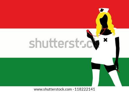 The flag of Hungary with a vector silhouette of a sexy naught nurse