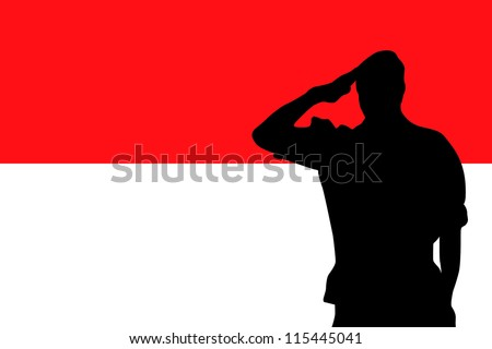 The flag of Indonesia and the silhouette of a soldier saluting - stock vector