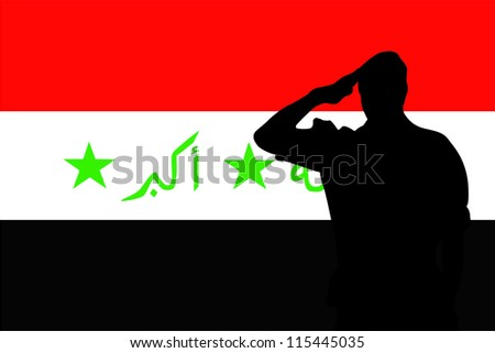 The flag of Iraq and the silhouette of a soldier saluting