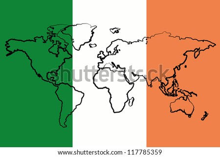 The flag of Ireland with the outline of the world - stock vector