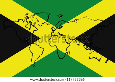 The flag of Jamaica with the outline of the world