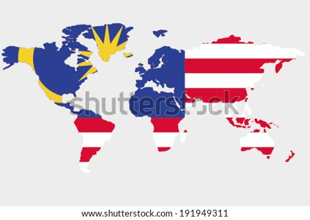 The flag of Malaysia in the outline of the world