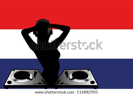 The flag of Netherlands with a female DJ wearing headphones with a set of decks