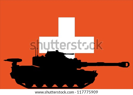 The flag of Switzerland with the silhouette of a tank - stock vector