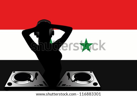 The flag of Syria with a female DJ wearing headphones with a set of decks
