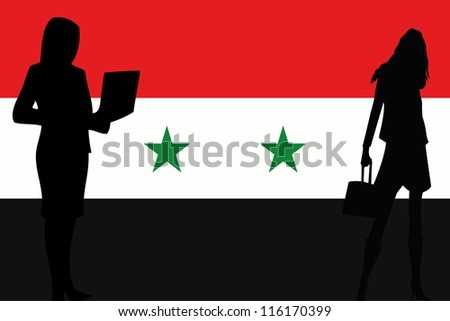 The flag of Syria with silhouettes of women in business women
