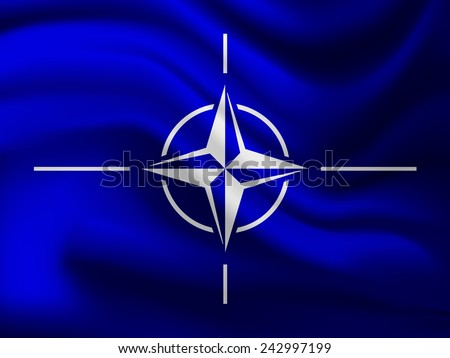 The flag of the North Atlantic Treaty Organization (NATO) - Adopted three years after the creation of the organization, it has been the flag of NATO since October 14, 1953.