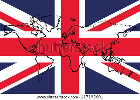 The flag of the United Kingdom with the outline of the world - stock vector