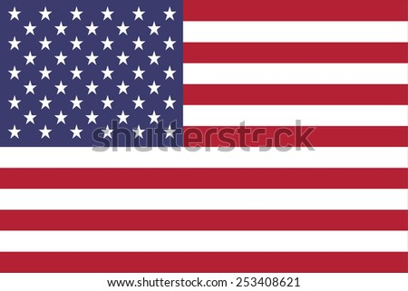 The flag of the United States of America made to a 2:3 ratio.  Many commerical flags are displayed as a 2:3 ratio - stock vector