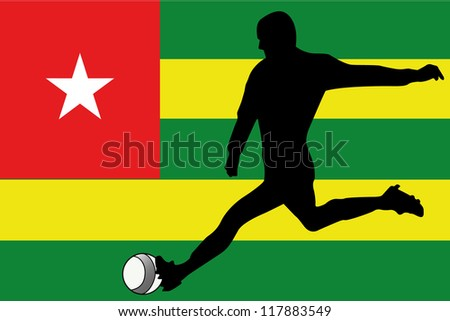 The flag of Togo with a football player