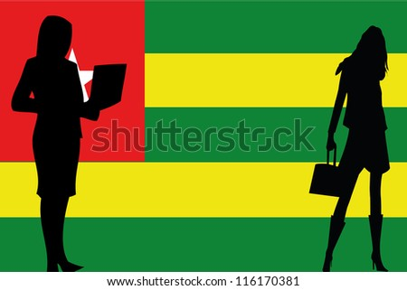 The flag of Togo with silhouettes of women in business women