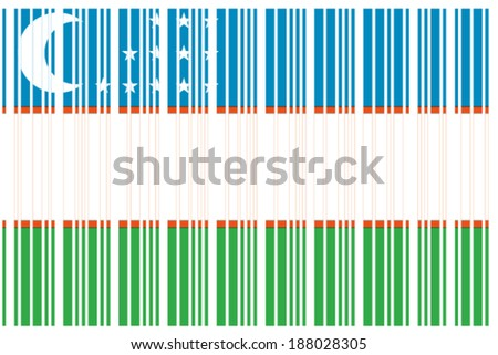 The Flag of Uzbekistan  in a Barcode Format