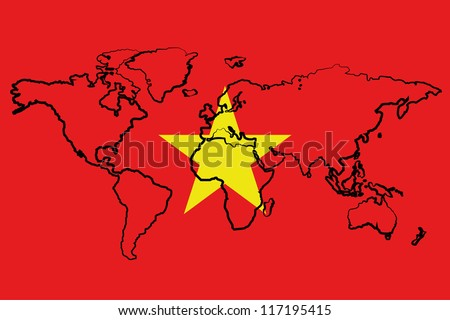 The flag of Vietnam with the outline of the world - stock vector