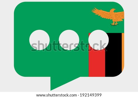 The flag of Zambia in a messaging bubble - stock vector