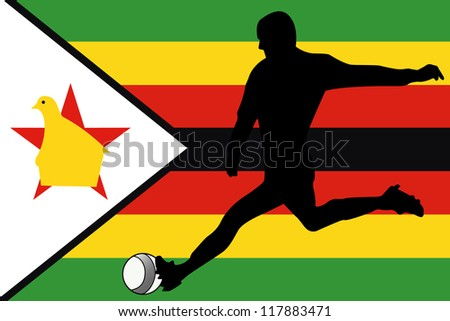 The flag of Zimbabwe with a football player