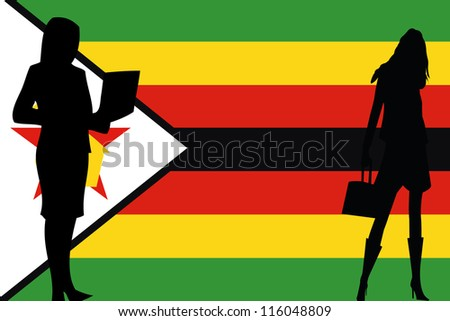 The flag of Zimbabwe with silhouettes of women in business women