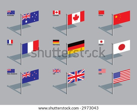 The flags of Australia, Canada, China, France, Germany, Japan, New Zealand, UK, and USA. Drawn in CMYK and placed on individual layers. - stock vector