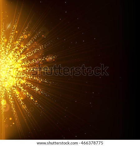 The flash of sunlight. Golden confetti, the sun's rays and the explosion effect. Empty space for text. Template for advertising, publicity, trade discounts, invitations, greetings and presentations.