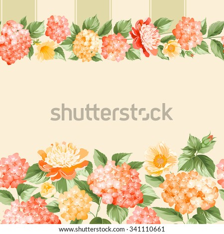 The floral seamless pattern over light background. Flower pattern of orange hydrangea flowers over pink background. Seamless texture. Orange flowers. Vector illustration. - stock vector