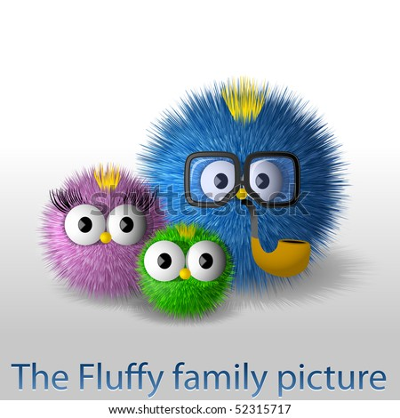 The fluffy family picture - stock vector