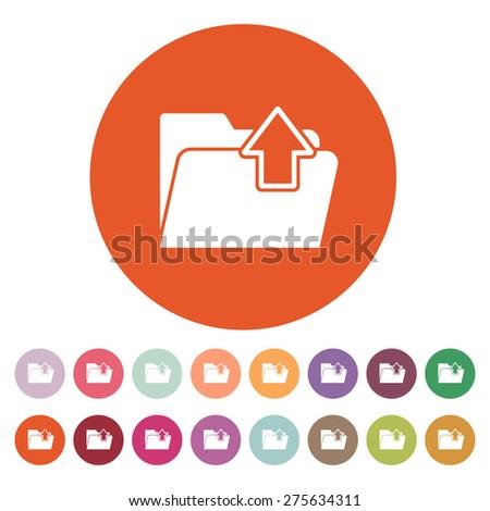The folder icon. Download symbol. Flat Vector illustration. Button Set - stock vector