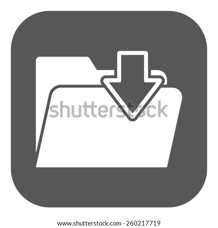 The folder icon. File download symbol. Flat Vector illustration. Button - stock vector