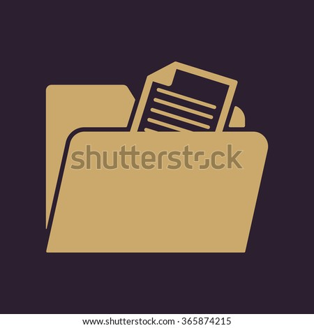 The folder icon. File symbol. Flat Vector illustration - stock vector