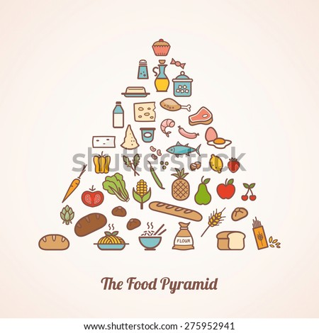The food pyramid composed of food icons set including vegetables, grains, fruits, meat, fish, dairy and condiments - stock vector