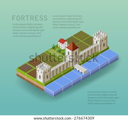The fortress with defensive towers, a moat, a bridge and rural buildings and houses. - stock vector
