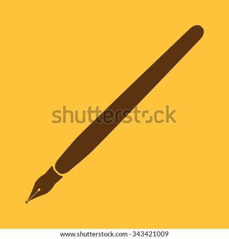 The fountain pen icon. Fountain pen symbol. Flat. Vector illustration - stock vector