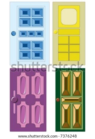 the four different color doors - stock vector