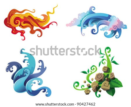 The Four Elements of nature, fire, air, water and earth, vector illustration - stock vector