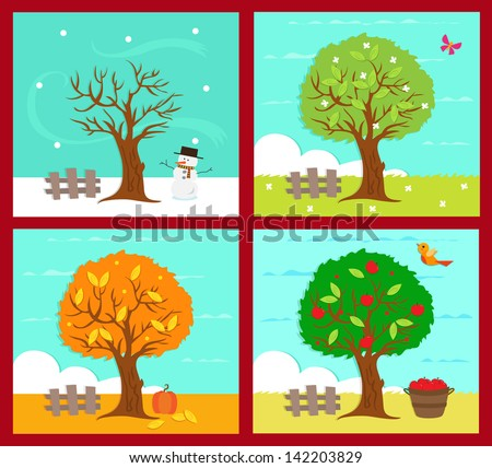 The Four Seasons - Vector illustration of the four season. Eps10 - stock vector