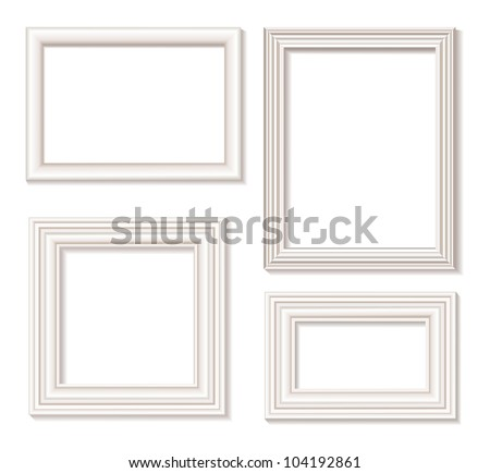 The four white isolated picture frames with shadow - stock vector