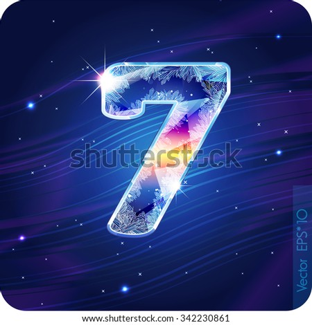 The frosty festive alphabet with the icy patterns. Digit 7(seven). eps10. - stock vector