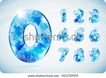 The frosty festive digits with the icy patterns. Set. Zero 0 One 1 Two 2 Three 3 Four 4 Five 5 Six 6 Seven 7 eight 8 nine 9. vector . eps10