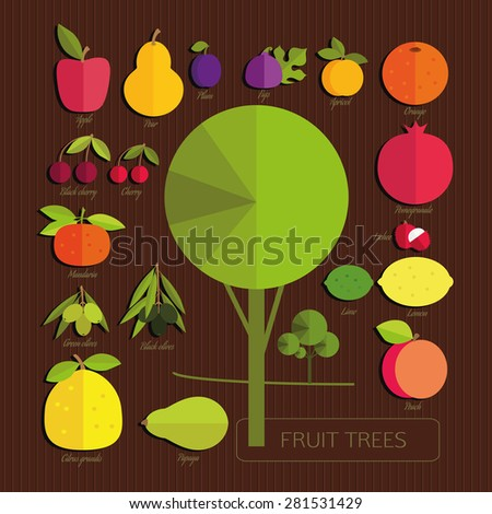 The fruits of fruit trees. Colorful fruits and tree on dark brown striped background. Set. Gardening. - stock vector