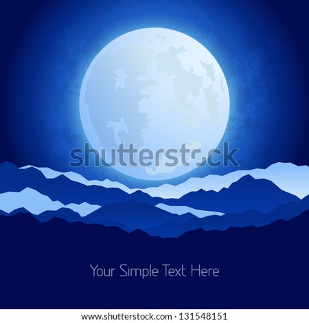 The full moon in the night sky background - stock vector