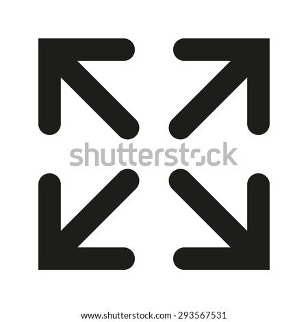 The full screen icon. Arrows symbol. Flat Vector illustration - stock vector