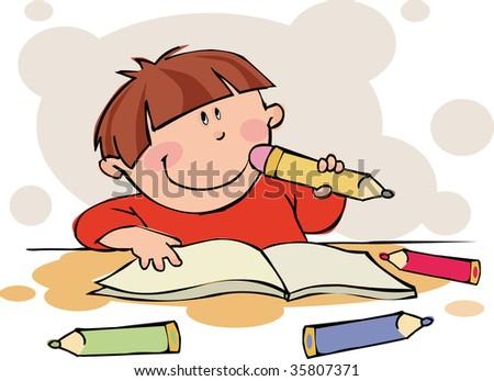 The funny boy doing his homework - stock vector