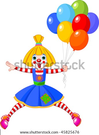 The funny clown girl jumping with balloons. Vector illustration - stock vector