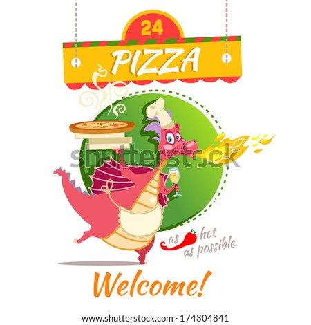 The funny dragon cooking tasty pizza. Vector illustration with cute cartoon character. - stock vector