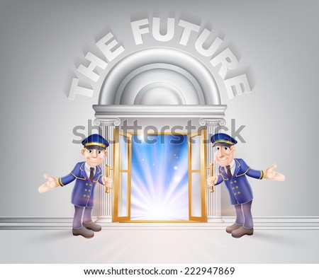 The future concept of a doormen hoding open a door to the future with light streaming through it. - stock vector