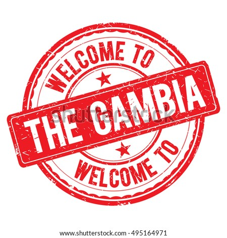 THE GAMBIA. Welcome to stamp sign illustration.