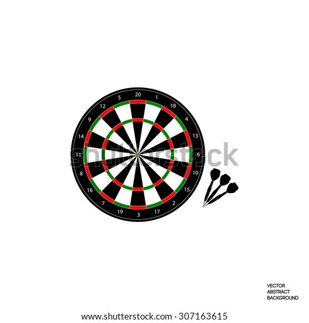 The game of darts. Dart board and darts. Competitions darts. School darts. Entertainment. Isolated. Darts on a white background. Vector illustration. - stock vector
